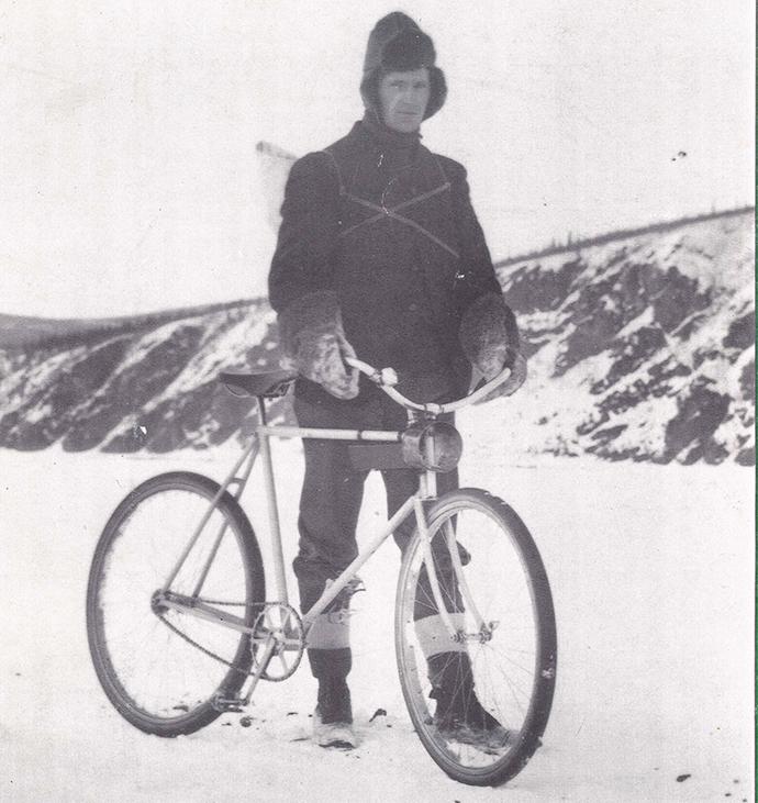 cyclist winter circa 1900