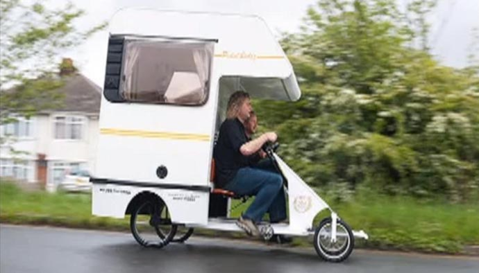 pedal-powered tiny camper vans